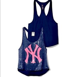 NWOT PINK VS New York Yankees Sequin Tank Size S